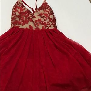 Floral red homecoming dress